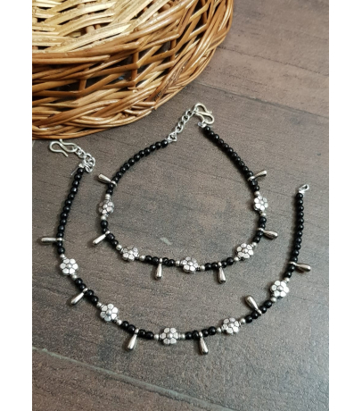 Oxidized Penta Flower with Long Charm Black Bead Anklets