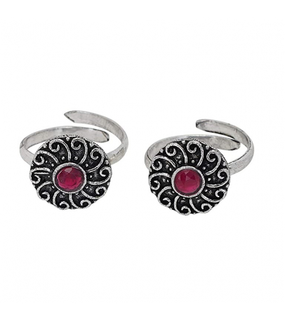 Oxidized Pink Stone Studded Round Design Toe Rings