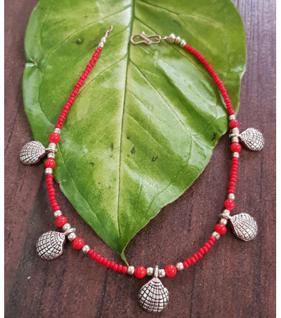 Oxidized Shell Design Red Single Anklets
