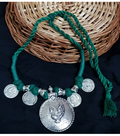 Oxidized Tribal Coin Green Thread Necklace