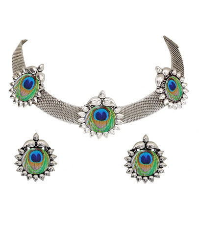 Peacock Feather Design Choker Necklace With Earrings