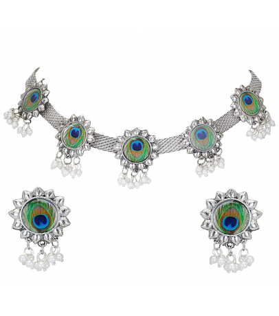 Peacock Feather Design With Pearl Drops Choker Necklace With Earrings