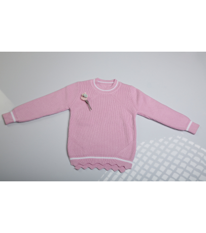 Pink Self Design Solid Sweater With Bottom Cut Design