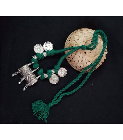Shaantim Oxidized Tribal Coin Green Thread Necklace