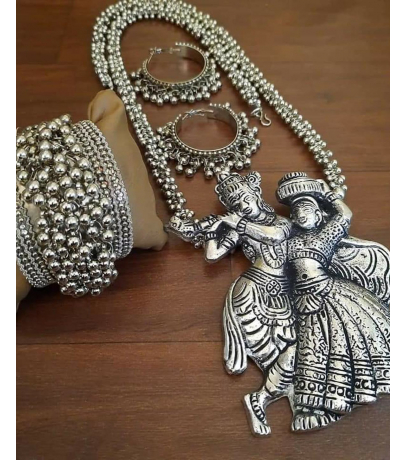 Shalz Premium Radha Krishna Necklace With Earrings N Bracelet