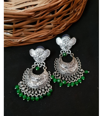 Spunky Oxidized Earrings With Green Beads