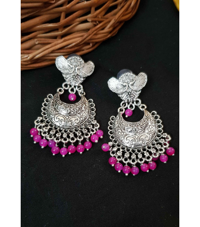 Spunky Oxidized Earrings With Pink Beads