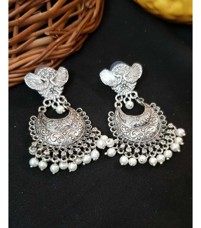 Spunky Oxidized Earrings With White Beads