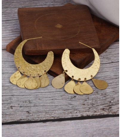 Statement Brassy Asymmetric Half Hoop Earrings