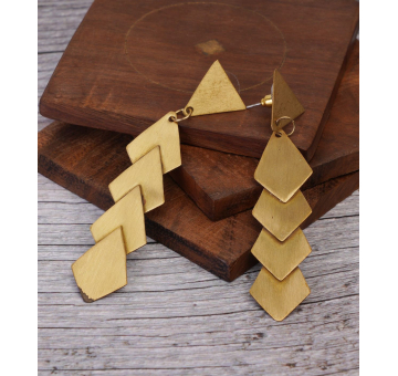 Statement Brassy Asymmetric Sleek Earrings