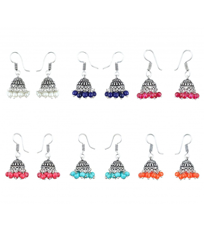 Tiny Trinkets Mutli Color Small Jhumki Earrings - Pack of 6