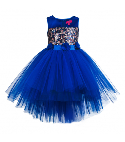 Toy Balloon Fit N Flare Hi-Low Blue Round Neck Net Dress