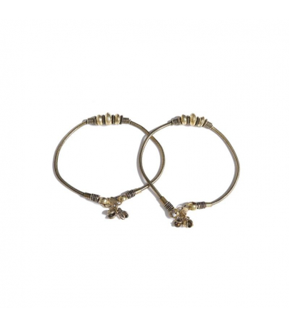 Traditional Oxidized Antique Golden Ball Design Brass Anklets