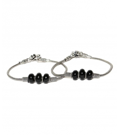 Traditional Oxidized Black Ball Bead Design Brass Anklets