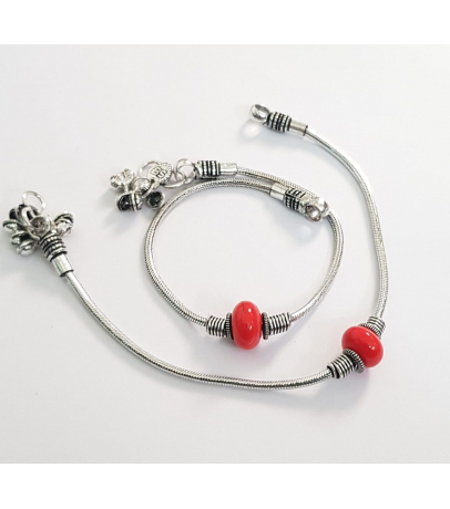 Traditional Oxidized Red Ball Bead Design Brass Anklets