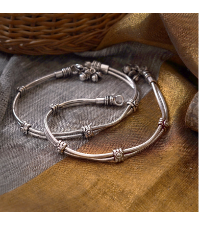 Traditional Oxidized Simple Designer Brass Anklets