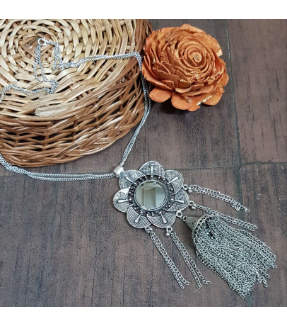 Vimukti Afghani Mirror Trendy Chain Necklace